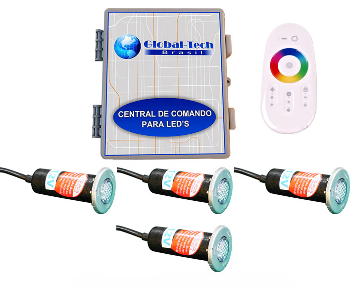 Led Piscina RGB - Kit 4 HiperLed ABS + Central + Controle Touch Screen