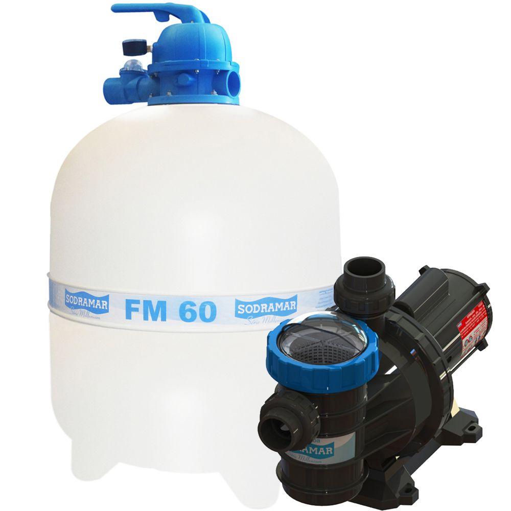 Filtro FM60 e Motobomba 1CV BMC100 Sodramar - Piscinas até 113.000 L