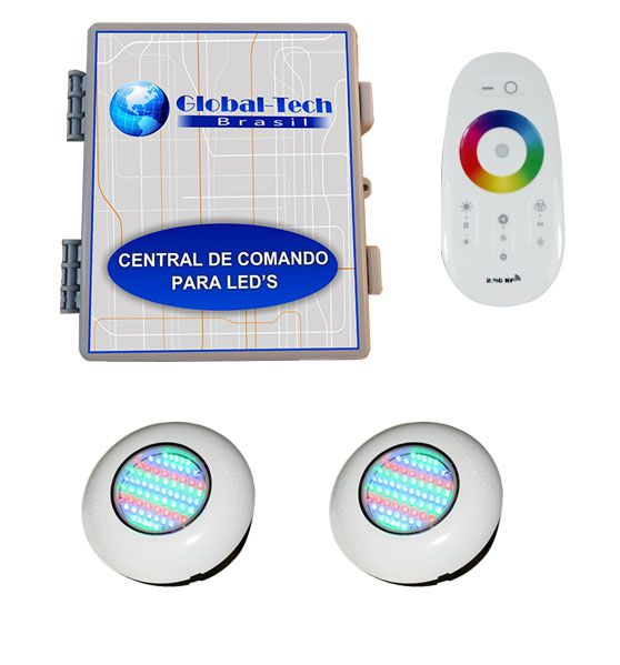 Led Piscina RGB - Kit 2 Easy Led 70 + Central + Controle Touch