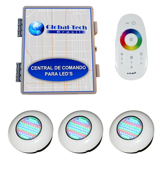 Led Piscina RGB - Kit 3 Easy Led 70 + Central + Controle Touch Screen