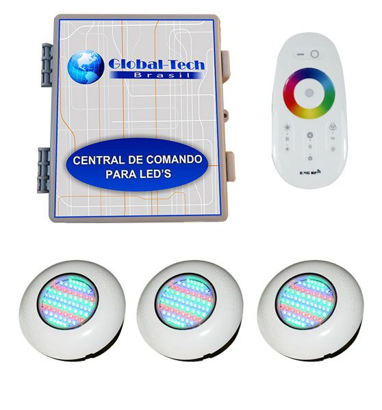 Led Piscina RGB - Kit 3 Easy Led 70 + Central + Controle Touch