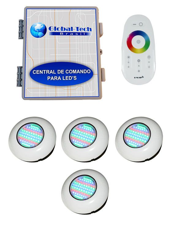 Led Piscina RGB - Kit 4 Easy Led 70 + Central + Controle Touch