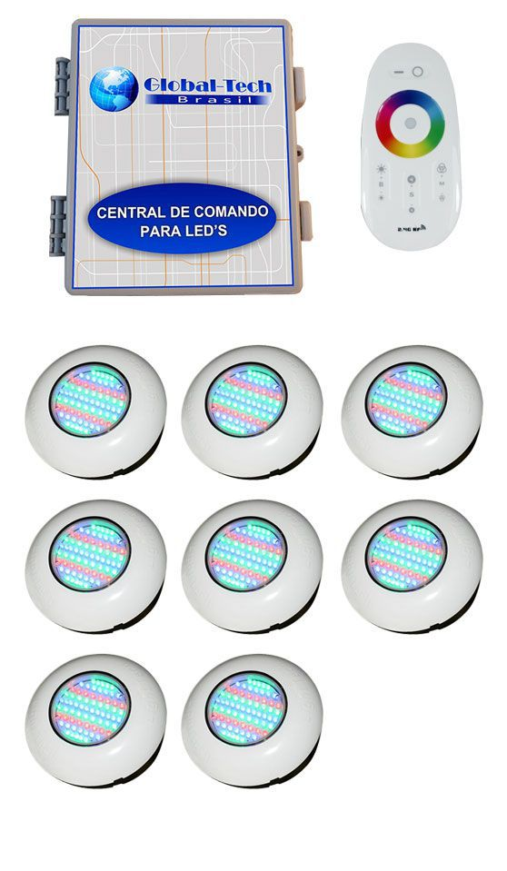 Led Piscina RGB - Kit 8 Easy Led 70 + Central + Controle Touch