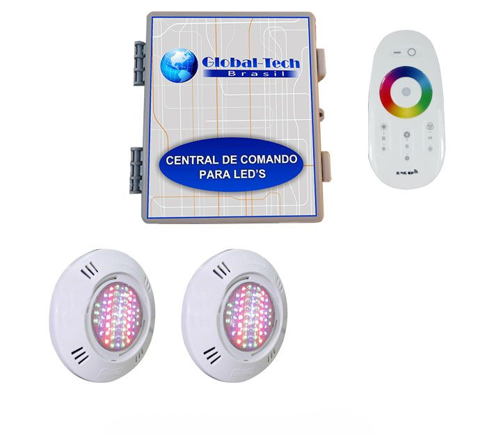 Led Piscina - Kit 2 Pratic SMD + Central + Controle Touch