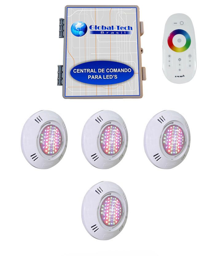 Led Piscina - Kit 4 Pratic SMD + Central + Controle Touch