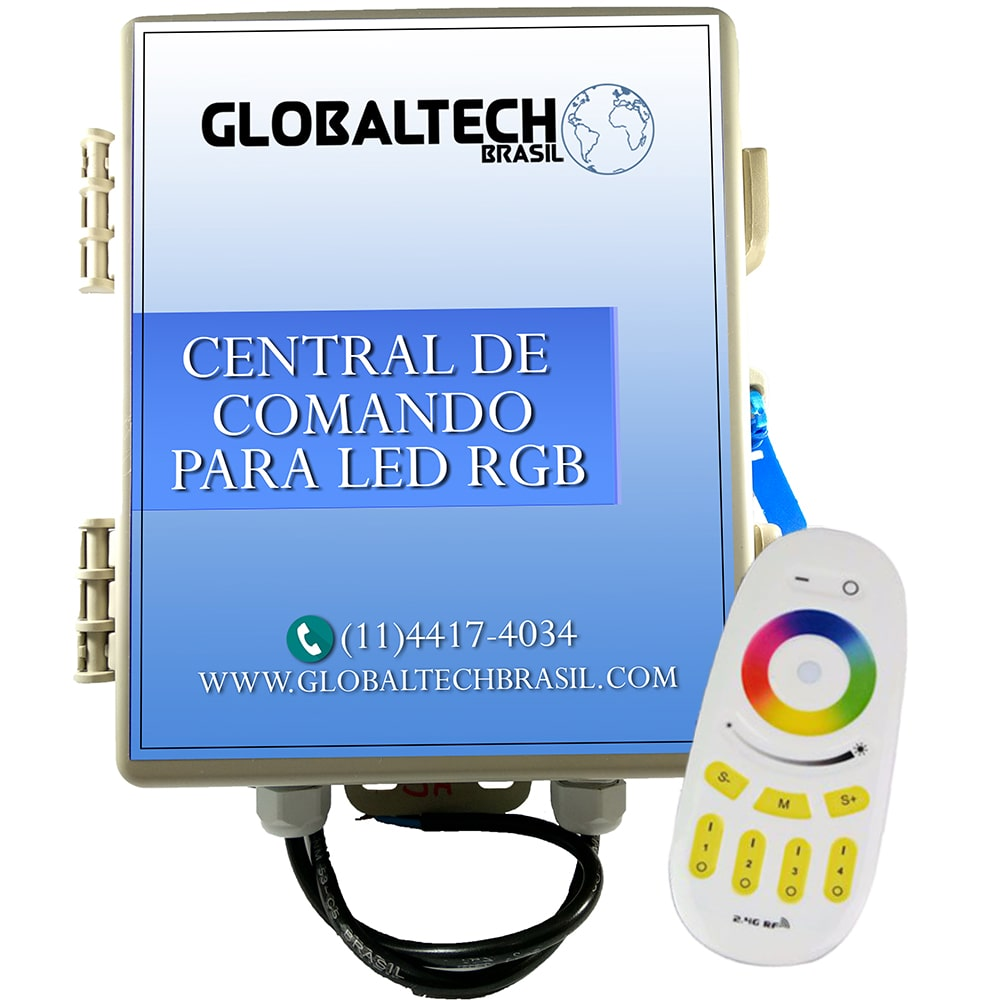Central de Comando LED Piscina RGB Colorido 3 Zonas - 120w/10A