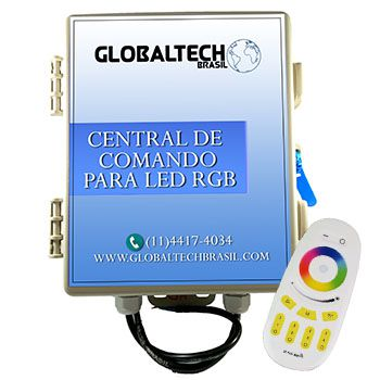 Central de Comando Leds PISCINA RGB Colorido 2 Zonas - 180w/15A