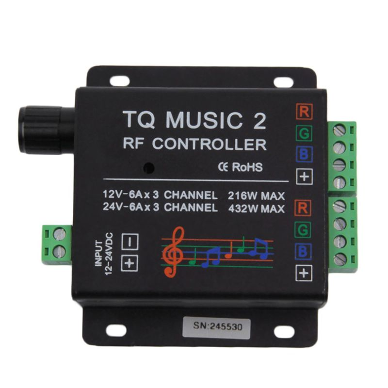 Controlador Touch RGB com modo Audio 120W com controle + Fonte 10A