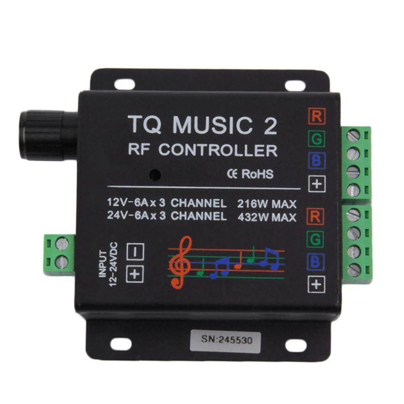 Controlador Touch RGB com modo Audio 60W com controle + Fonte 5A