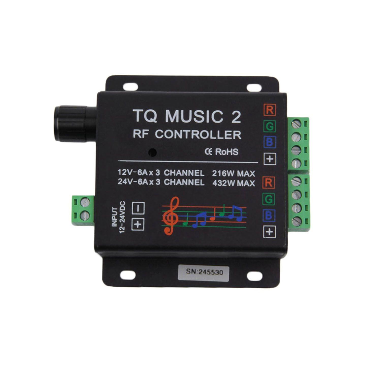 Controlador Touch RGB Modo Áudio 60W com controle + Fonte 5A