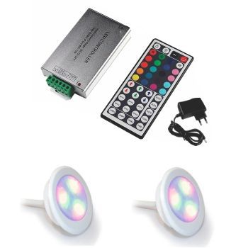 Led Piscina - Kit 2 Led RGB 9W ABS Divina Lux + Central Compacta