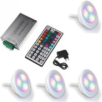 Led Piscina - Kit 4 Led RGB 9W ABS Divina Lux + Central Compacta