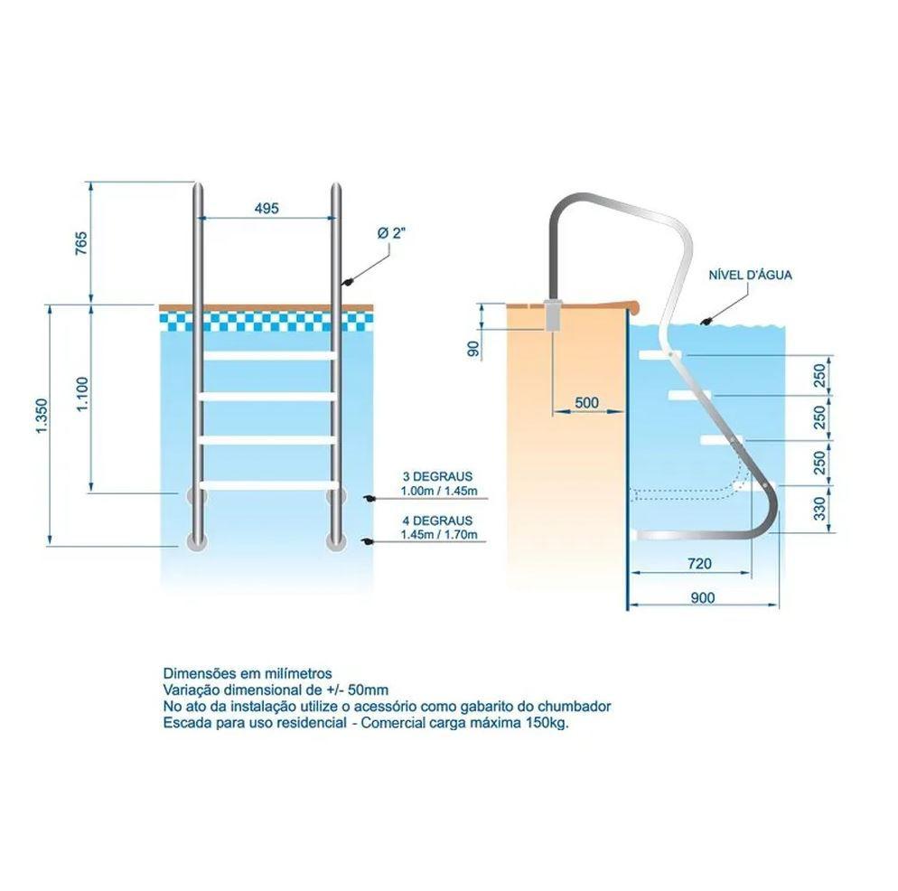Escada em aço inox Confort 2' com 4 degraus duplos em aço inox
