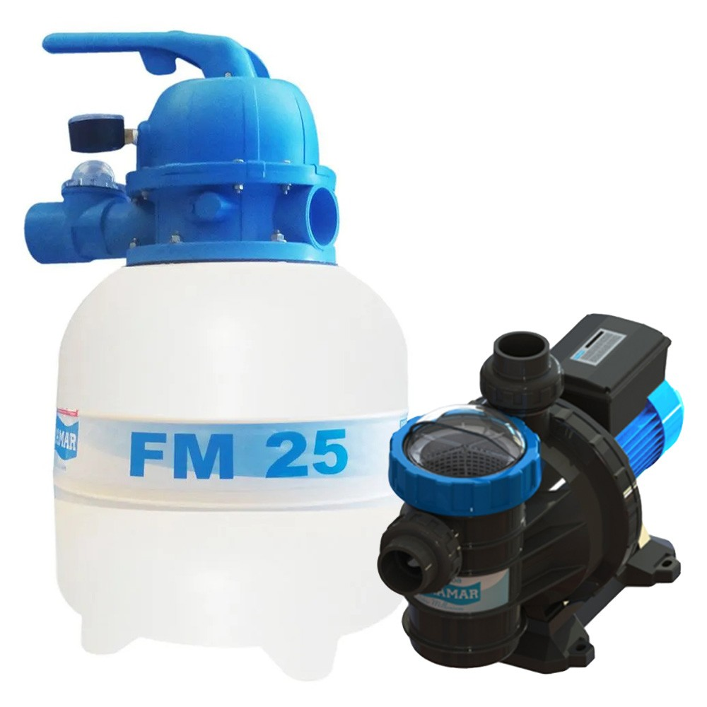 Filtro Piscina FM25 e Motobomba 1/4CV BMC25 Sodramar -  até 19.000 L