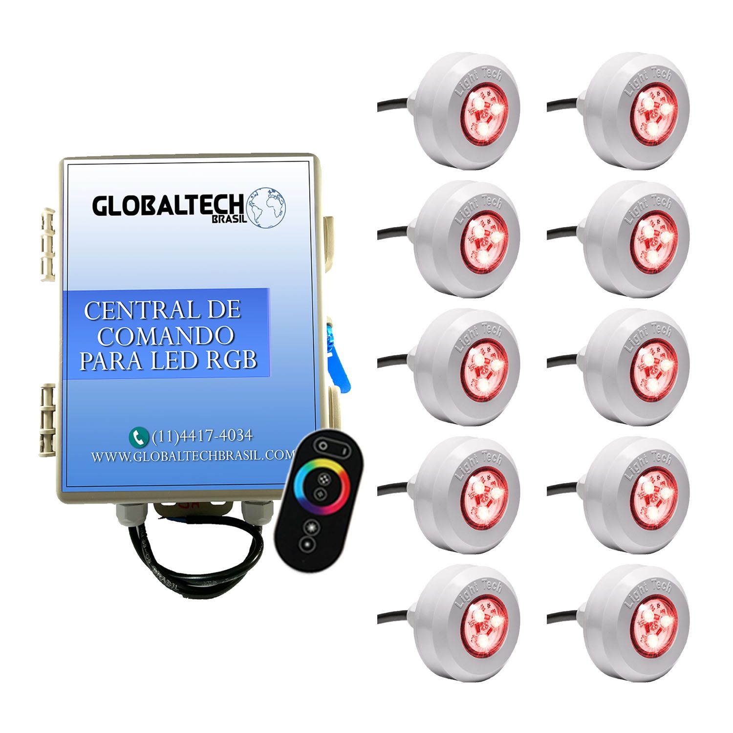 Kit 10 Led Piscina RGB Colorido + Central + Touch - Light Tech