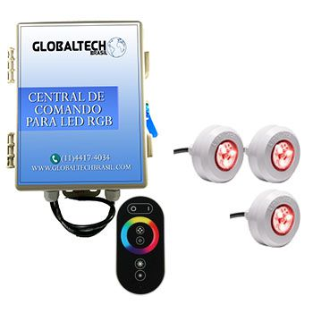 Iluminação Piscina - 3 Leds Piscina RGB COLORIDO + Central + Touch