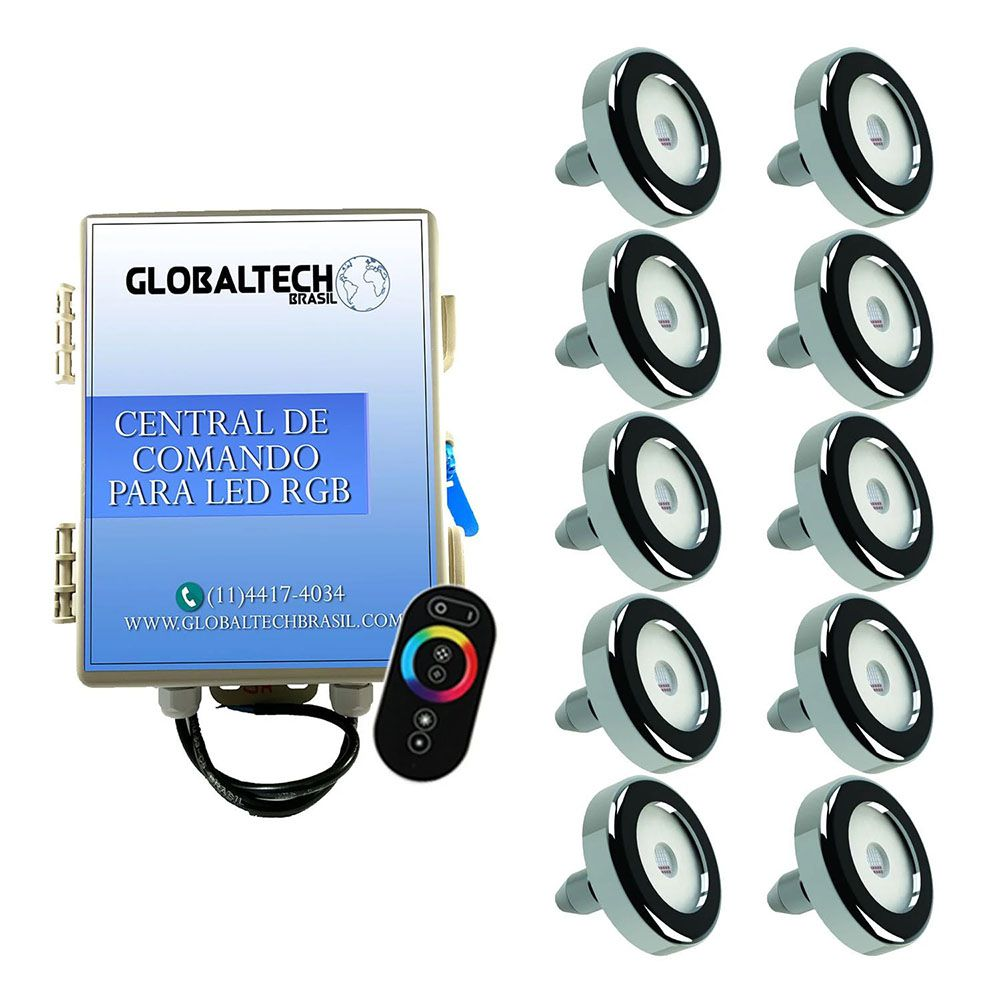 Kit 10 Led Piscina Inox RGB 6W + Central + Controle - Tholz