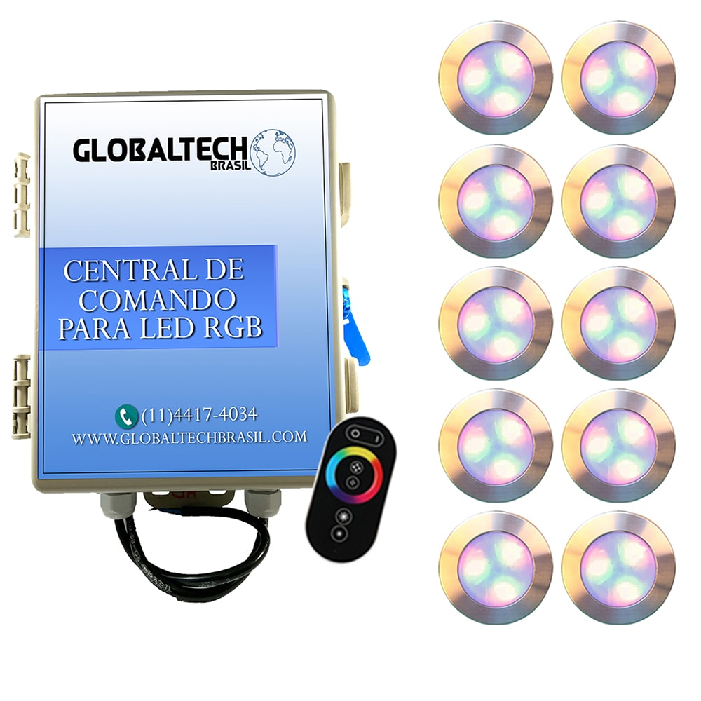 Kit 10 Led Piscina RGB 12W Inox Divina Lux + Central + Controle