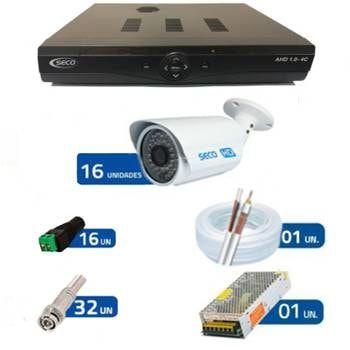 KIT 16 Câmeras Bullet IR Híbrida - AHD HD 720p