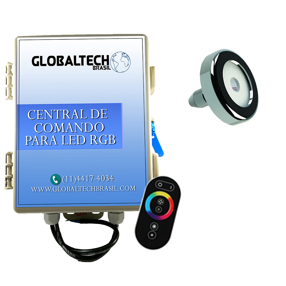 Kit 1 Led Piscina Inox RGB 6W + Central + Controle - Tholz