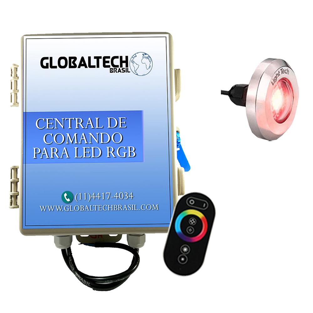 Kit 1 Tiny Led Piscina Inox 316 RGB 10W + Central + Controle