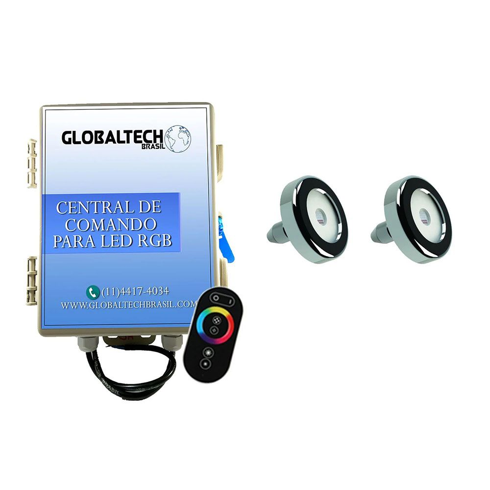 Kit 2 Led Piscina Inox RGB 9W + Central + Controle - Tholz