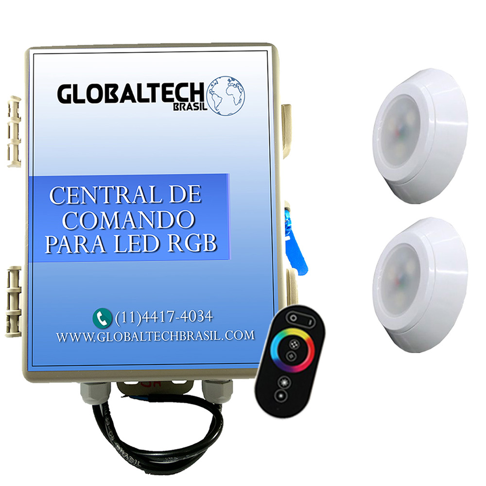 Kit 2 Led Piscina RGB 9W ABS Divina Lux + Central + Controle