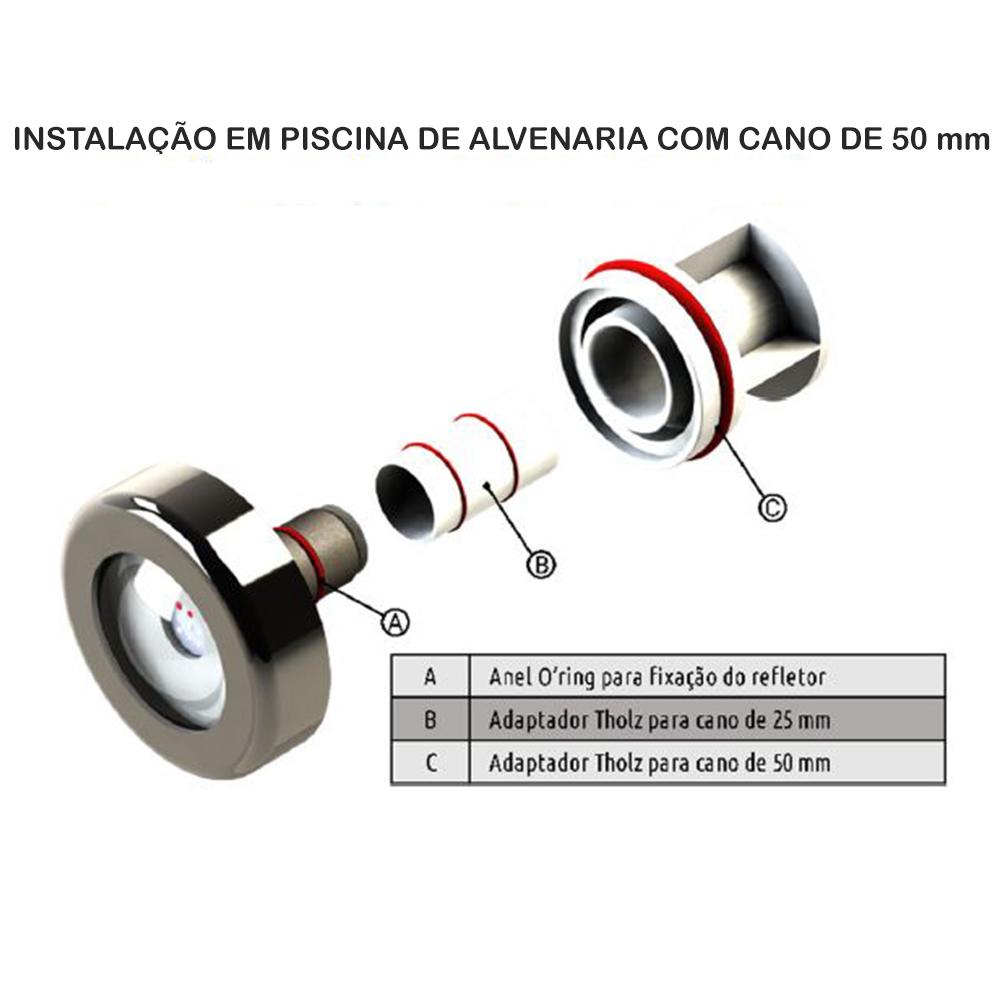 Kit 3 Led Piscina Inox RGB 9W + Central + Controle - Tholz