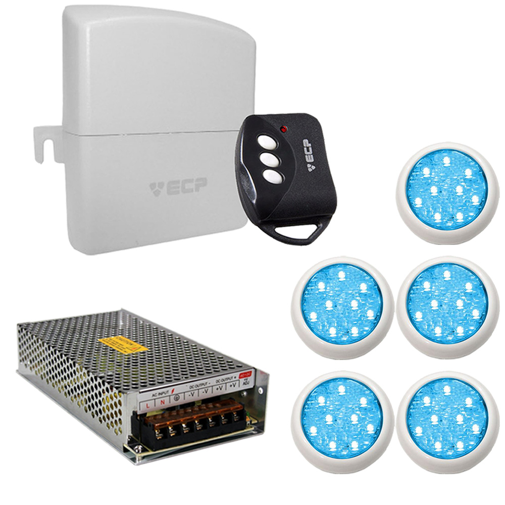 Kit 5 Led Piscina Monocromático 9w + Central + Controle