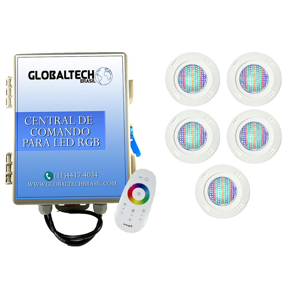 Kit 5 Led Piscina Pratic SMD 5w + Central Touch - Sodramar