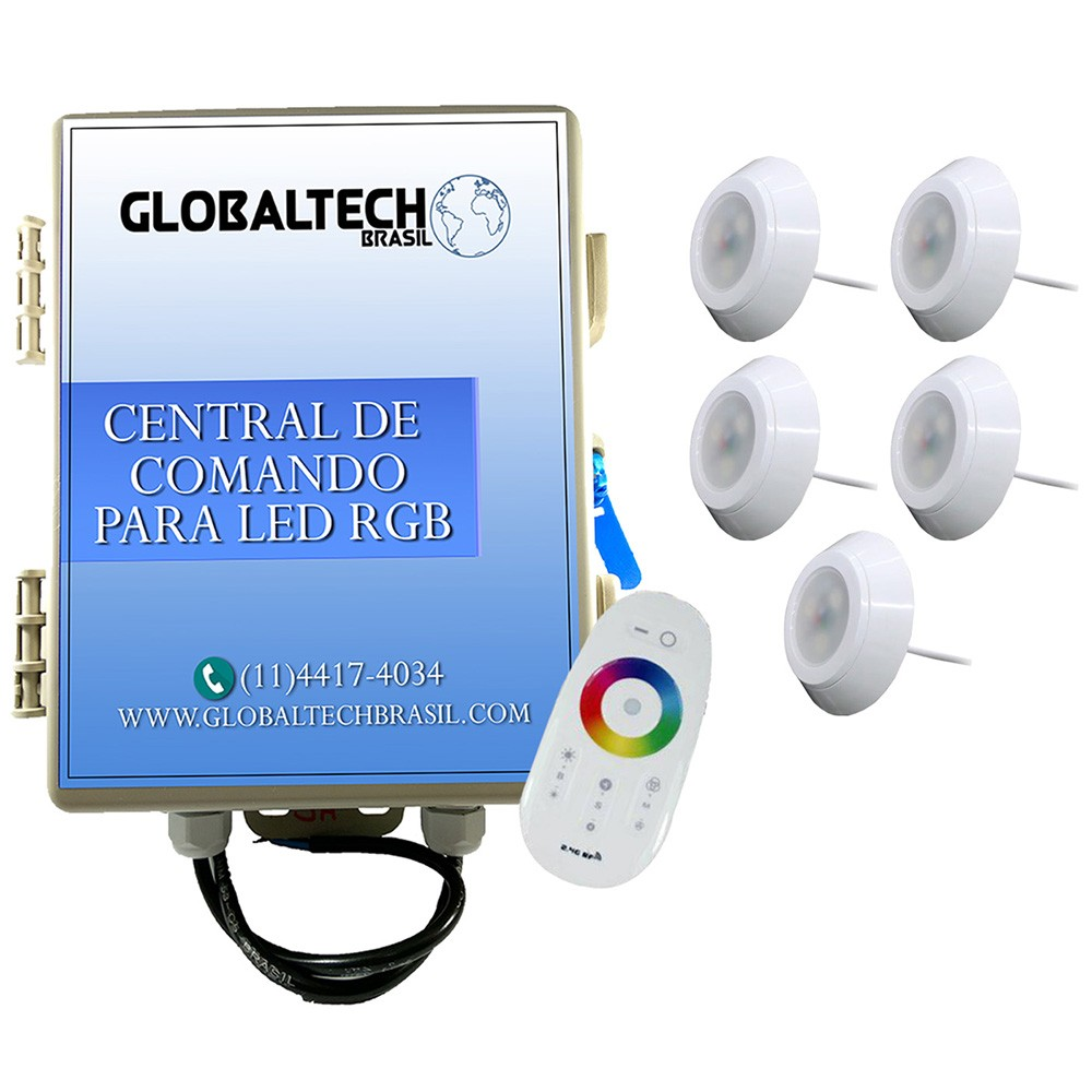 Kit 5 Led Piscina RGB 9W ABS Divina Lux + Central + Controle