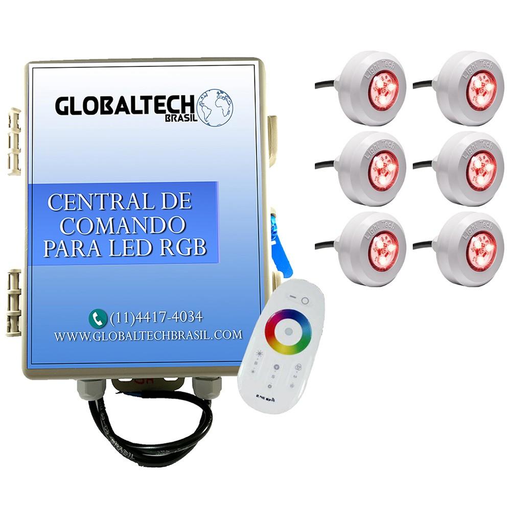 Kit 6 Led Piscina RGB 4,5W Tec Light + Central Touch - Light Tech