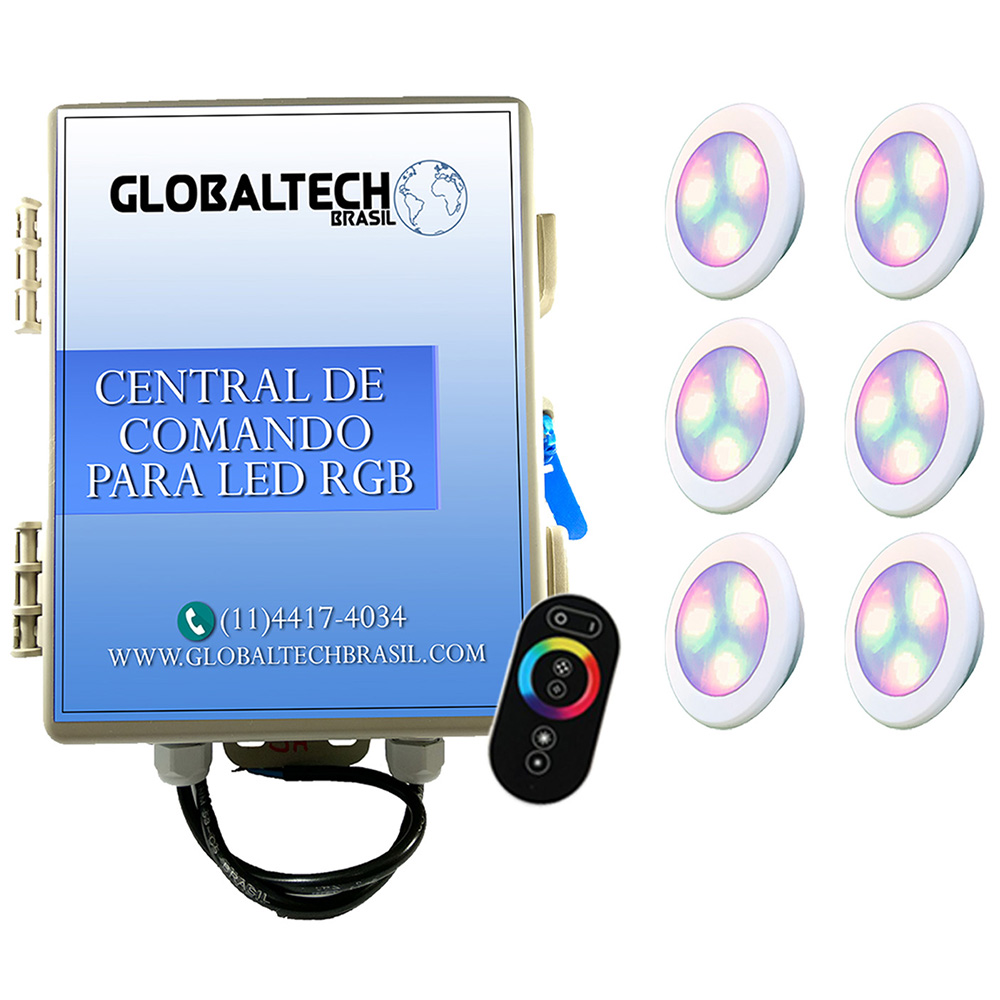 Kit 6 Led Piscina RGB 6W ABS Divina Lux + Central + Controle