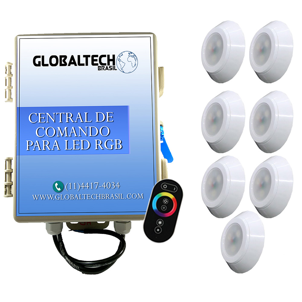 Kit 7 Led Piscina RGB 9W ABS Divina Lux + Central + Controle
