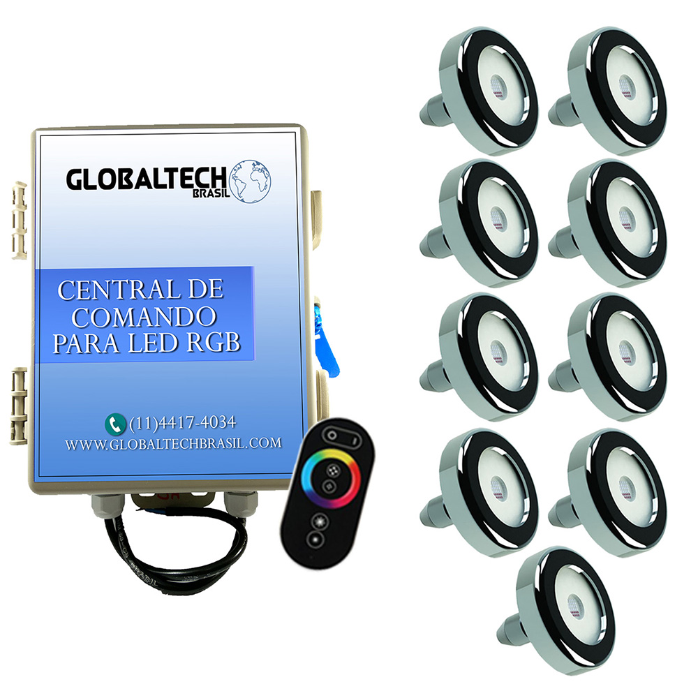 Kit 9 Led Piscina Inox RGB 6W + Central + Controle - Tholz