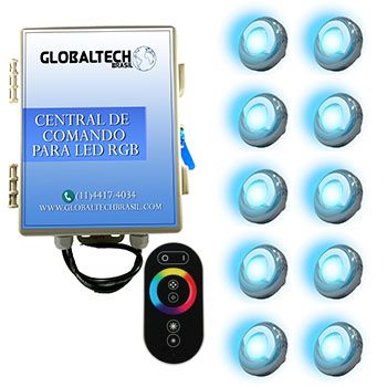 Led Piscina - Kit 10 Led Tholz 9W Inox RGB + Central + Controle Touch