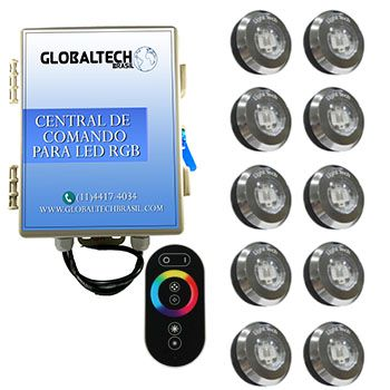Led Piscina - Kit 10 Tiny Led INOX RGB + Central + Controle Touch