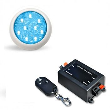 Led Piscina - Kit 1 Led Monocromático 9w + Central + Control