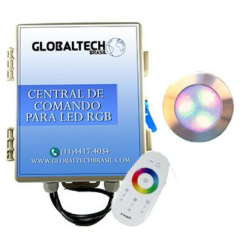 Led Piscina - Kit 1 Led RGB 12W Inox Divina Lux + Central + Controle