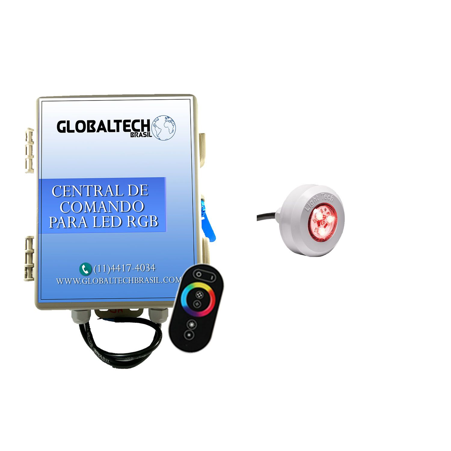 Led Piscina - Kit 1 Led Tec Light ABS RGB + Central + Controle Touch