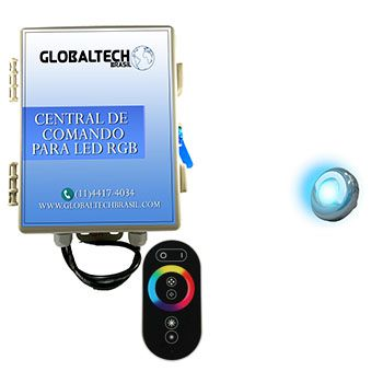 Led Piscina - Kit 1 Led Tholz 9W Inox RGB + Central + Controle Touch