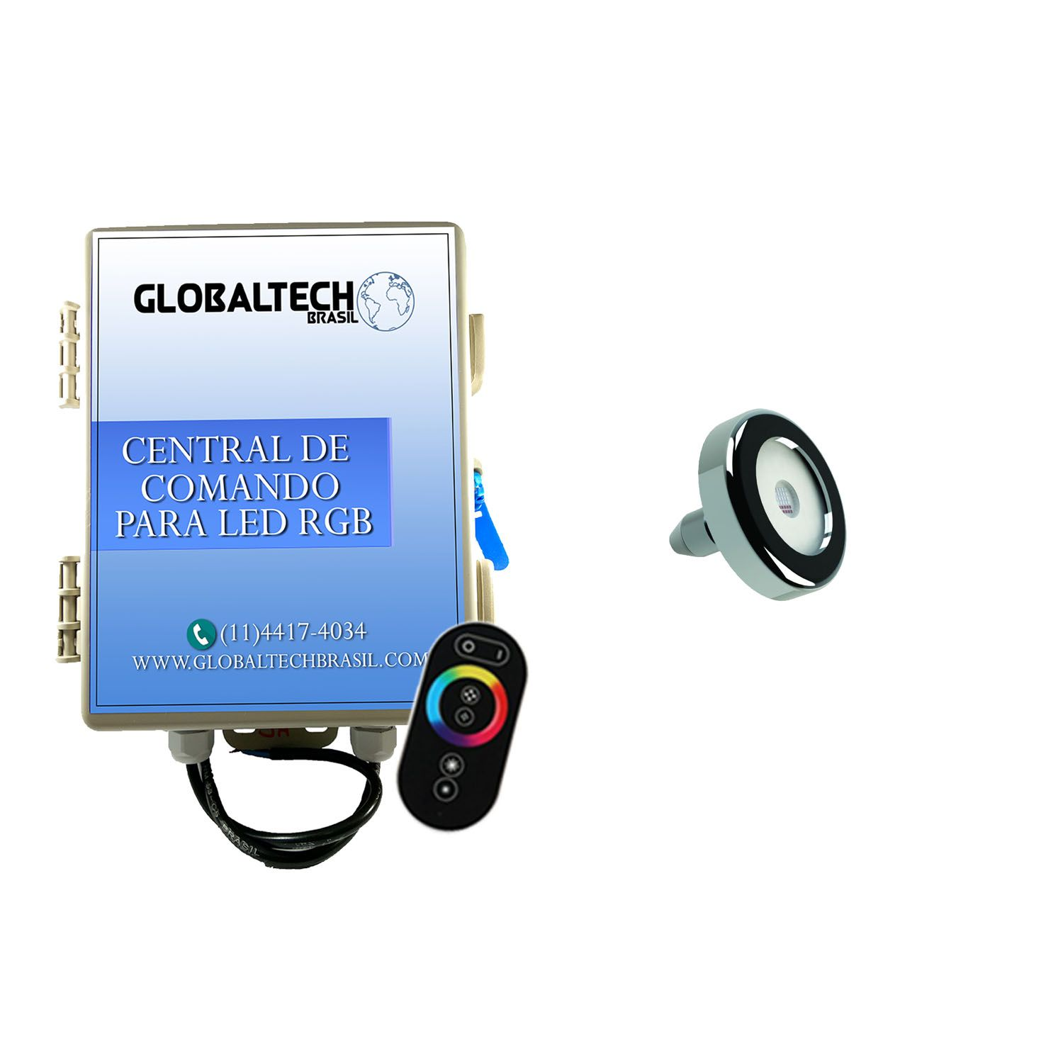 Kit 1 Led Piscina Inox RGB 9W + Central + Controle - Tholz