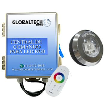 Led Piscina - Kit 1 Tiny Led INOX RGB + Central + Controle Touch