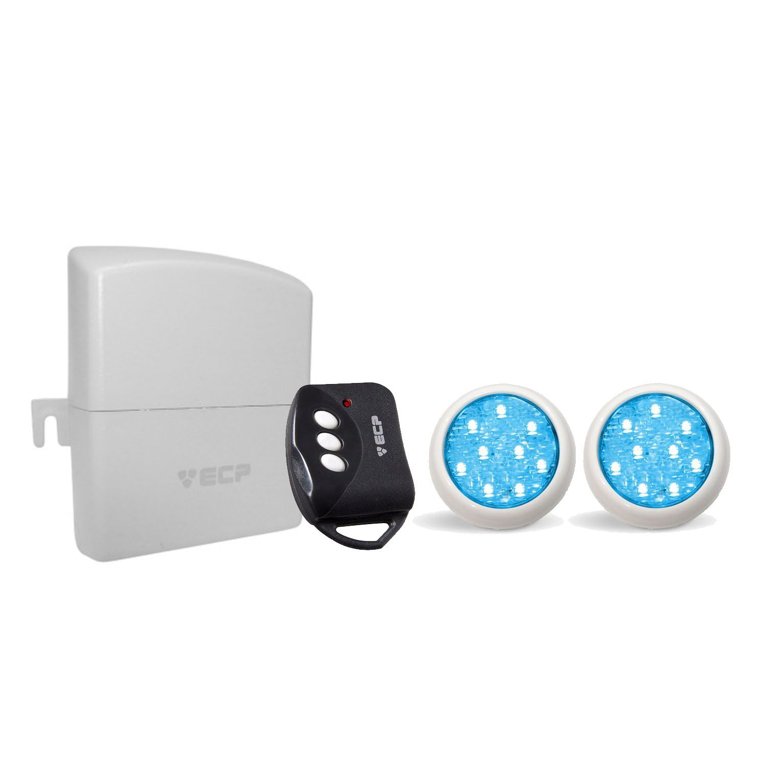Kit 2 Led Piscina Monocromático 9w + Central + Controle