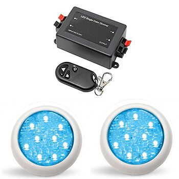Led Piscina - Kit 2 Led Monocromático 9w + Central + Controle