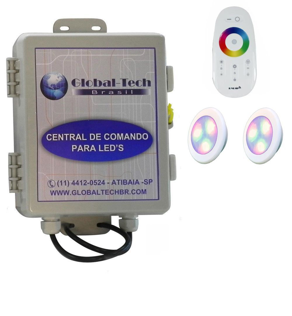 Led Piscina - Kit 2 Led RGB 9W ABS Divina Lux + Central + Controle