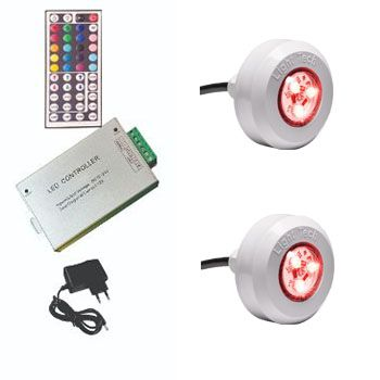 Led Piscina - Kit 2 Led Tec Light ABS RGB + Central Compacta