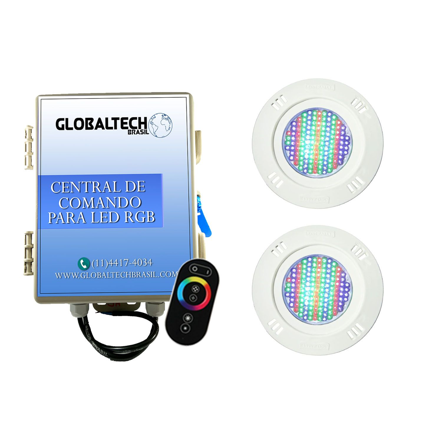 Kit 2 Led Piscina Pratic SMD + Central + Controle - Sodramar