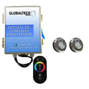 Led Piscina - Kit 2 Tiny Led INOX RGB + Central + Controle Touch