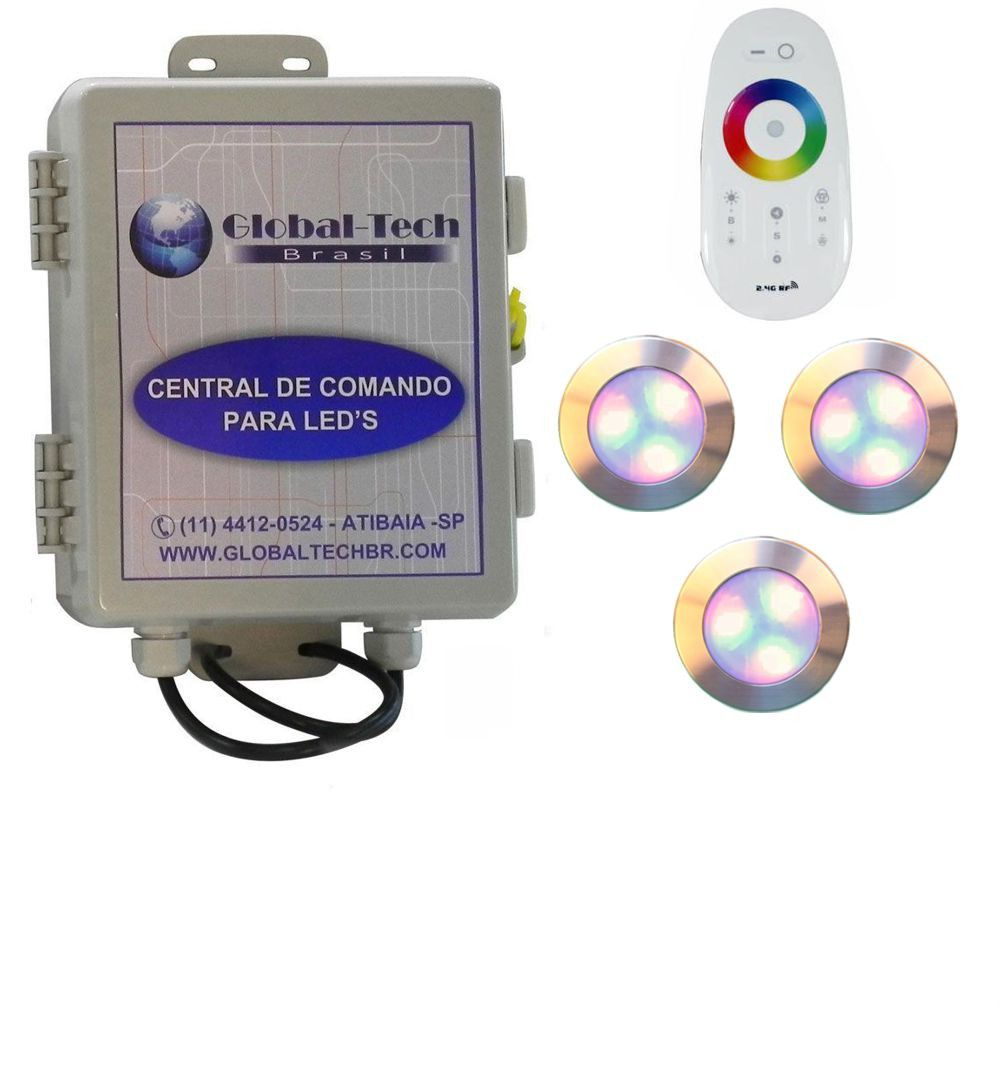 Led Piscina - Kit 3 Led RGB 12W Inox Divina Lux + Central + Controle